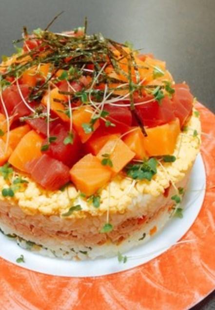 簡単✤ちらし寿司ケーキ ひな祭り❦誕生日