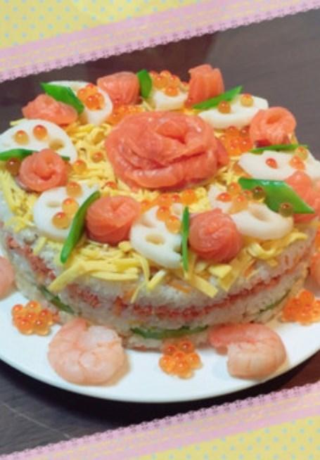 ひなまつり♡誕生日♡簡単ちらし寿司ケーキ