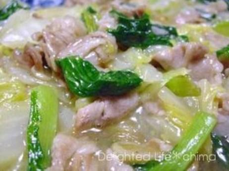 白菜とチンゲン菜の豚バラ塩あんかけ