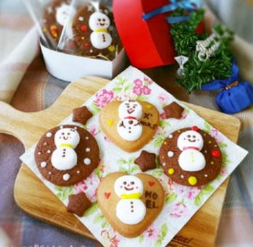 クリスマスに♥マシュマロ雪だるまクッキー