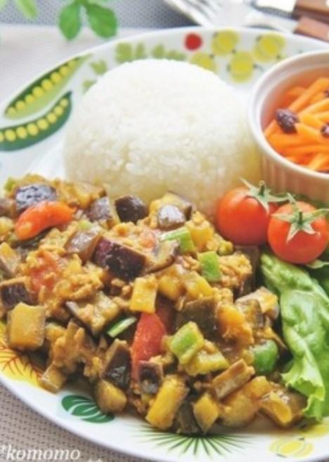 ナスたっぷり♫野菜と挽肉のドライカレー