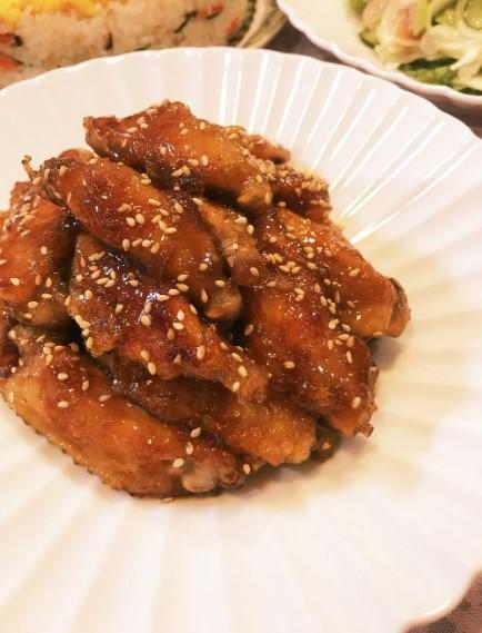 ご飯がススム♡鶏手羽中の甘辛焼き