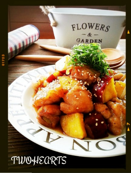 ご飯もお酒も進むよ~❤鶏肉とさつま芋炒め