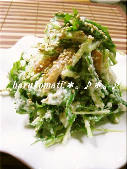 お豆腐で水菜が美味しいサラダ