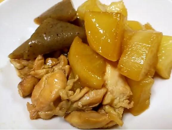 照り大根と鶏肉の簡単煮物
