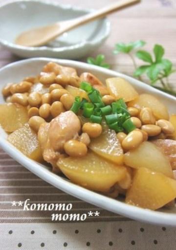 ◆鶏肉と大根と大豆の炒め煮◆