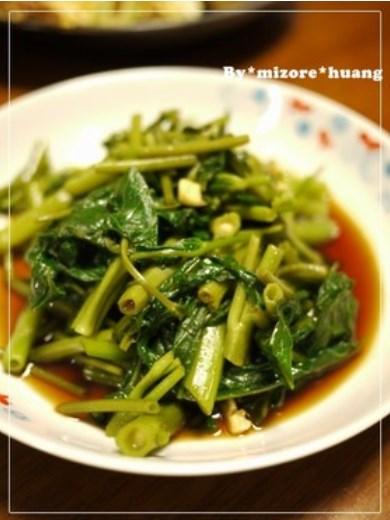 超簡単台湾料理★空心菜のにんにく醤油和え