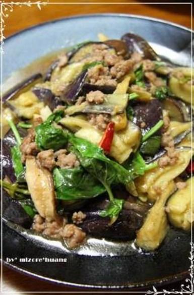 台湾料理★挽肉と茄子のバジル炒め