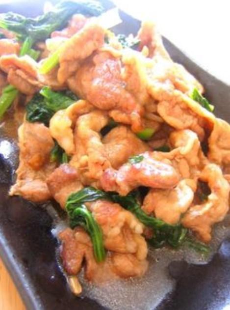 豚肉と小松菜のニンニク醤油炒め