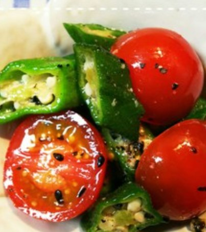 レンジだけ!ミニトマトとオクラのサラダ
