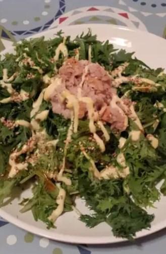 ツナとわさび菜の胡麻マヨラー油サラダ