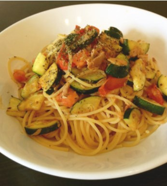 簡単☆ズッキーニとトマトとツナのパスタ
