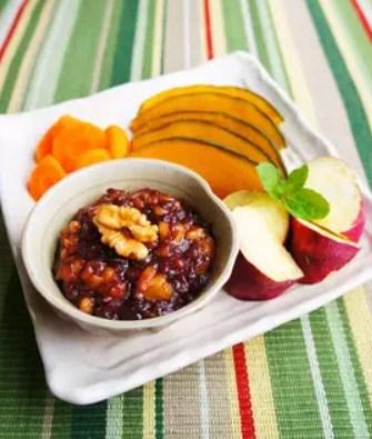 秋野菜の温サラダ~濃厚焦し胡桃小豆ソース