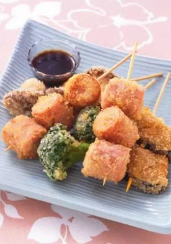 おさかなのソーセージと秋野菜の串揚げ