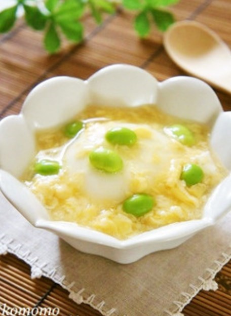 冷でも温でも♫玉子と枝豆のあんかけ豆腐