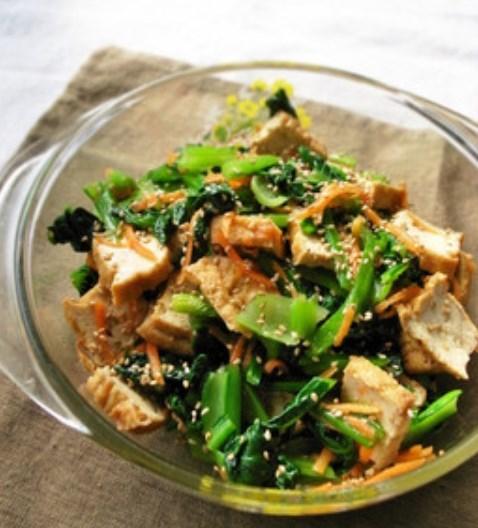 小松菜と厚揚げの和風生姜のヘルシーサラダ